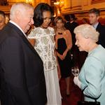 First Lady Michelle Obama and US Ambassador Louis Susman meet Queen Elizabeth during a reception at Buckingham Palace for Heads of State and Government attending the Olympics Opening Ceremony 121843