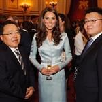 Catherine, Duchess of Cambridge poses with President of Mongolia Elbegdorj Tsakhia during a reception at Buckingham Palace a reception for Heads of State and Government attending the Olympics Opening Ceremony 121845