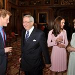 Catherine, Duchess of Cambridge and Prince Harry at a reception in the Waterloo Chamber, before the Lunch For Sovereign Monarchs at Windsor Castle 114990