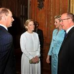Princess Charlene of Monaco and Prince Albert II of Monaco at a reception in the Waterloo Chamber, before the Lunch For Sovereign Monarchs at Windsor Castle 114993