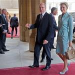 Princess Charlene of Monaco and Prince Albert II of Monaco at a reception in the Waterloo Chamber, before the Lunch For Sovereign Monarchs at Windsor Castle 114995