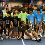 Rafael Nadal participating in a tennis clinic with children from The Child Center of NY 92830