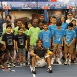 Rafael Nadal participating in a tennis clinic with children from The Child Center of NY 92831
