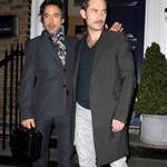 Robert Downey Jr and Jude Law having dinner after a day on set of Sherlock Holmes  27886