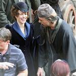 Rachel McAdams and Robert Downey Jr on set of Sherlock Holmes: A Game of Shadows in London 94876