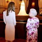 Queen Elizabeth and Catherine tour Royal Wedding exhibit at Buckingham Palace  90633