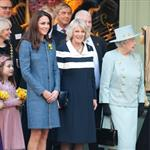 Catherine, Duchess of Cambridge, Camilla, Duchess of Cornwall and Queen Elizabeth II unveiling a plaque at Fortnum & Mason in London 107779