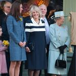 Catherine, Duchess of Cambridge, Camilla, Duchess of Cornwall and Queen Elizabeth II unveiling a plaque at Fortnum & Mason in London 107784