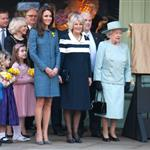 Catherine, Duchess of Cambridge, Camilla, Duchess of Cornwall and Queen Elizabeth II unveiling a plaque at Fortnum & Mason in London 107785