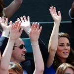 Prince William and Catherine, Duchess of Cambridge attend the match between Andy Murray of Great Britain and Nicolas Almagro of Spain in the Quarterfinal of Men's Singles Tennis on Day 6 of the London 2012 Olympic Games at Wimbledon 122197