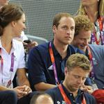 Catherine, Duchess of Cambridge, Prince William, Duke of Cambridge and Prince Harry during Day 6 of the London 2012 Olympic Games 122405