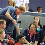 Catherine, Duchess of Cambridge, Prince William, Duke of Cambridge and Prince Harry during Day 6 of the London 2012 Olympic Games 122422