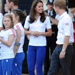 Prince William, Catherine, and Prince Harry welcome the Olympic torch at Buckingham Palace 121777