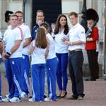 Prince William, Catherine, and Prince Harry welcome the Olympic torch at Buckingham Palace 121788