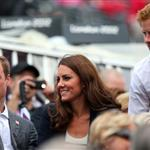 Prince William, Duke of Cambridge, Catherine, Duchess of Cambridge and Prince Harry watch the Show Jumping Equestrian event on Day 4 of the London 2012 Olympic Games 122065