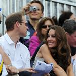 Prince William, Duke of Cambridge, Catherine, Duchess of Cambridge and Prince Harry watch the Show Jumping Equestrian event on Day 4 of the London 2012 Olympic Games 122071