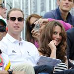 Prince William, Duke of Cambridge, Catherine, Duchess of Cambridge and Prince Harry watch the Show Jumping Equestrian event on Day 4 of the London 2012 Olympic Games 122076