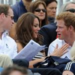Prince William, Duke of Cambridge, Catherine, Duchess of Cambridge and Prince Harry watch the Show Jumping Equestrian event on Day 4 of the London 2012 Olympic Games 122084