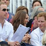 Prince William, Duke of Cambridge, Catherine, Duchess of Cambridge and Prince Harry watch the Show Jumping Equestrian event on Day 4 of the London 2012 Olympic Games 122085