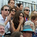 Prince William, Duke of Cambridge, Catherine, Duchess of Cambridge and Prince Harry watch the Show Jumping Equestrian event on Day 4 of the London 2012 Olympic Games 122096