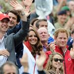 Prince William, Duke of Cambridge, Catherine, Duchess of Cambridge and Prince Harry watch the Show Jumping Equestrian event on Day 4 of the London 2012 Olympic Games 122098