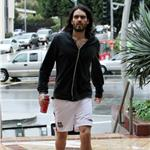 Russell Brand wears green socks to the gym 53729