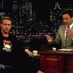 Ryan Gosling on Late Night with Jimmy Fallon with his dog George  90452