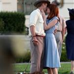 Ryan Gosling Emma Stone on the set of Gangster Squad  94778