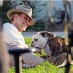 Ryan Gosling on the set of Gangster Squad with a bulldog  94785