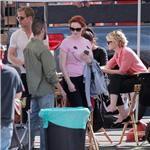 Ryan Gosling with Christina Hendricks and Carey Mulligan on the set of Drive 72009