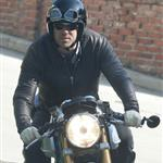 Ryan Reynolds on his motorcycle in Los Angeles  112178
