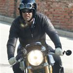 Ryan Reynolds on his motorcycle in Los Angeles  112180