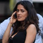 Salma Hayek visits I Hate You Dad set wearing wide leg jeans 87190