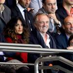 Salma Hayek attends the Paris Saint-Germain vs Rennes soccer match in Paris with Francois-Henri Pinault  114519