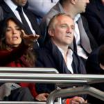 Salma Hayek attends the Paris Saint-Germain vs Rennes soccer match in Paris with Francois-Henri Pinault  114520
