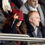 Salma Hayek attends the Paris Saint-Germain vs Rennes soccer match in Paris with Francois-Henri Pinault  114521