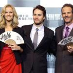 Taylor Kitsch, Brooklyn Dekker and Peter Berg attend the Battleship Press Conference in Seoul, South Korea 110679