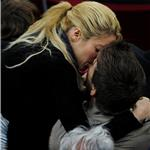 Shakira kisses Gerard Pique during La Liga match between Barcelona and Osasuna 83716