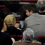 Shakira kisses Gerard Pique during La Liga match between Barcelona and Osasuna 83720