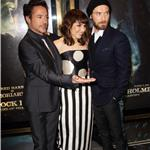Noomi Rapace, Robert Downey Jr, and Jude Law at the premiere of  Sherlock Holmes: A Game Of Shadows in London 100221