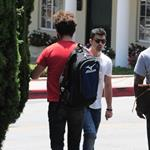 Shia LaBeouf heads to Cafe Med and passes Joe Jonas on the way in West Hollywood 91607