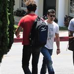 Shia LaBeouf heads to Cafe Med and passes Joe Jonas on the way in West Hollywood 91609