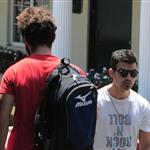 Shia LaBeouf heads to Cafe Med and passes Joe Jonas on the way in West Hollywood 91612
