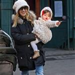Sarah Jessica Parker takes twins Marion and Tabitha to walk James Wilkie to school  76582