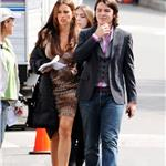 Sofia Vergara and son Manolo and Julie Bowen on the set of Modern Family   81666