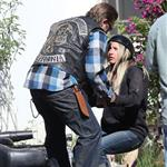 Charlie Hunnam and guest star Ashley Tisdale shoot Sons Of Anarchy Season 5  118571