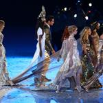 British supermodels Lily Cole, Karen Elson, Kate Moss, Stella Tennant, Naomi Campbell and Jourdan Dunn during the Closing Ceremony of the London 2012 Olympic Games 123084