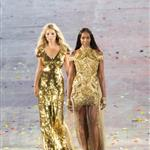 British supermodels Kate Moss and Naomi Campbell during the Closing Ceremony of the London 2012 Olympic Games 123089