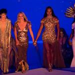 British supermodels Kate Moss and Naomi Campbell during the Closing Ceremony of the London 2012 Olympic Games 123090