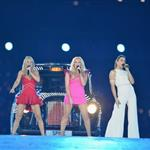 The Spice Girls perform during the Closing Ceremony of the London 2012 Olympic Games 123125